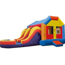 inflatable combo house with double lane slides