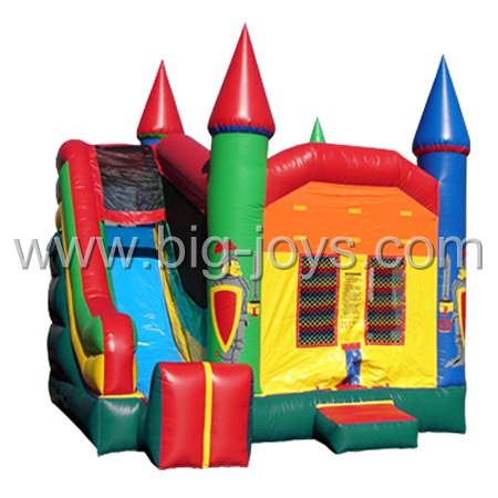 Inflatable children bouncer with slide