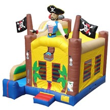 Inflatable party bouncer with slide