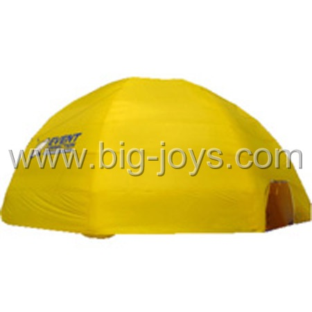 yellow round inflatable tent