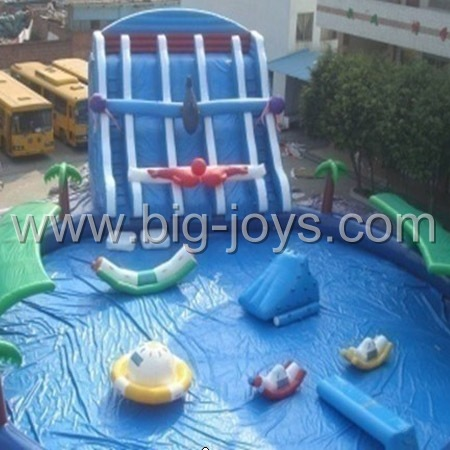 Above Ground Inflatable Water Park. Inflatable Aqua Park.