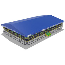 Trampoline park with roof